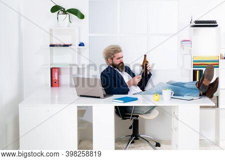 End Of The Working Day. Alcohol Addiction Problem Concept. Alcoholism Problem. Drunk Businessman. Dr