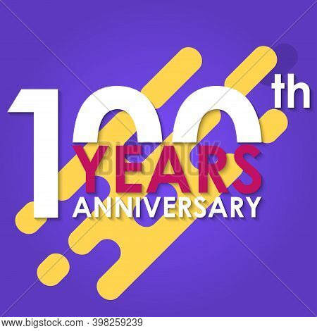 100 Years Anniversary Logo Isolated On Abstract Background. 100th Anniversary Banner. Birthday, Cele