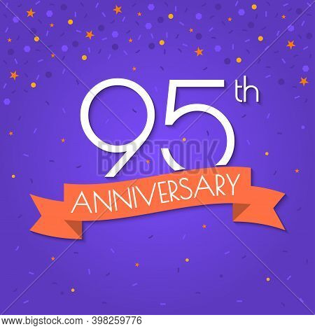 95 Years Anniversary Logo Isolated On Confetti Background. 95th Anniversary Banner With Ribbon. Birt