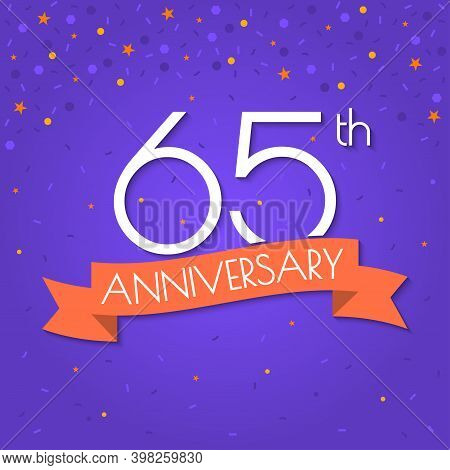 65 Years Anniversary Logo Isolated On Confetti Background. 65th Anniversary Banner With Ribbon. Birt