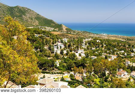 Panoramic View Of White Washed Town Of Mijas In Costa Del Sol, Spain