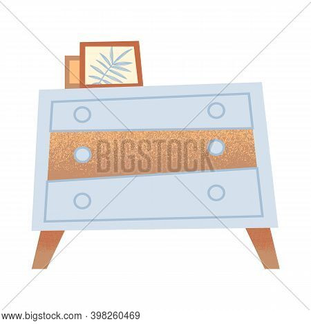 Modern Dresser Illustration. White Cabinet With Photo Decor. Drawer Chest On Wooden Legs For You Roo