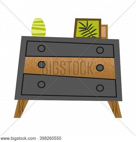 Modern Dresser Illustration. Black Cabinet With Photo Decor. Drawer Chest On Wooden Legs For You Roo