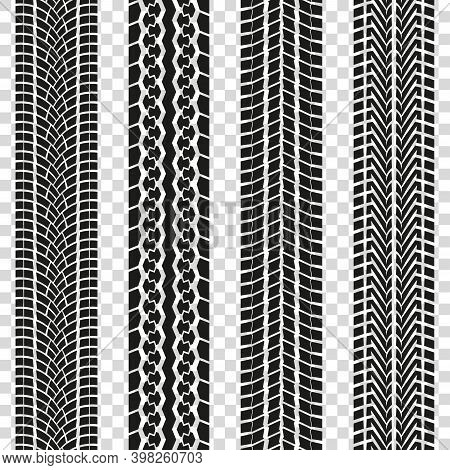 Tire Track Or Tyre Tread Isolated On The Transparent Background. Car Tire Print Pattern Collection.