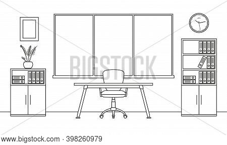 Office Interior Outline Sketch. Modern Business Workspace With Office Furniture: Chair, Desk, Comput