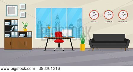 Office Interior Design. Modern Business Workspace With Office Chair, Desk, Computer, Bookcase, Windo