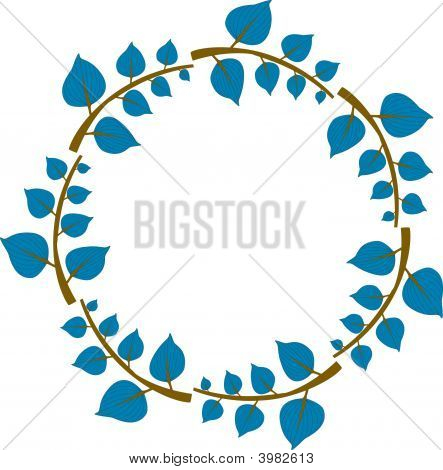 Frame Or Wreath With Blue Leaves And Twiggs