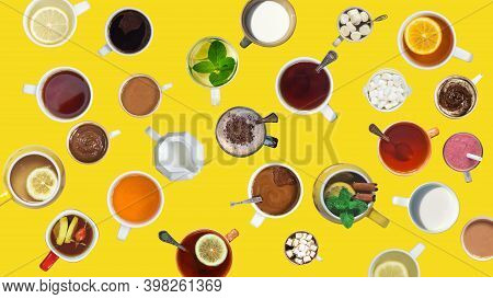 Many Different Cups With Drinks And Desserts On Yellow Background