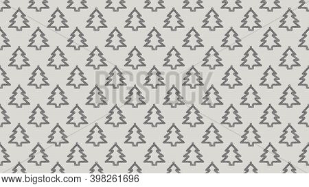 Background Of Many Silver Christmas Trees On Beige
