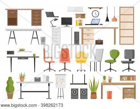 Office Furniture Vector Illustration Set Isolated On White. Cartoon Ergonomic Furnishing Objects For