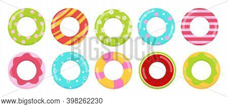 Rings Toys In Water Vector Illustration Collection. Cartoon Inflatable Life Saving Floating Lifebuoy