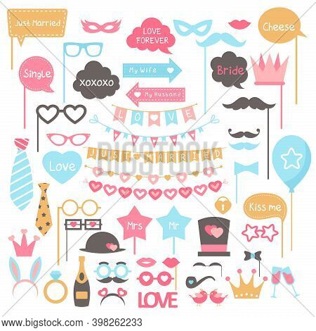 Cartoon Photo Booth Props Elements For Wedding Party Collection With Jewelry, Champagne, Glasses Mus
