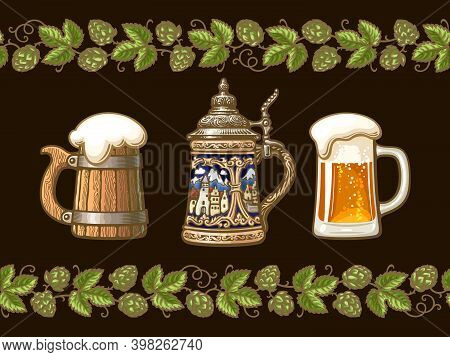 Vintage Colorful Set Of Beer Mugs Framed By Branches Of Hop. Old Wooden Mug. Traditional German Stei