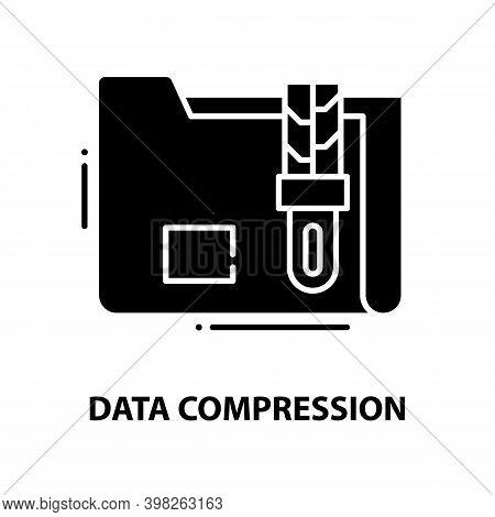 Data Compression Symbol Icon, Black Vector Sign With Editable Strokes, Concept Illustration