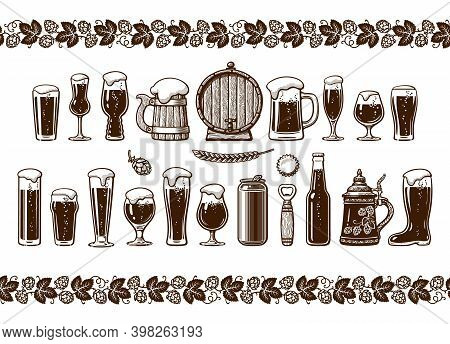 Various Types Of Beer Glasses And Mugs. Seamless Border. Hand Drawn Engraving Style Vector Illustrat