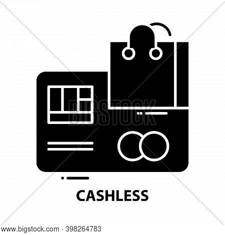 Cashless Icon, Black Vector Sign With Editable Strokes, Concept Illustration