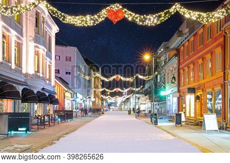 Christmas Decorations in Center street In Tromso, Norway,  Starry Night