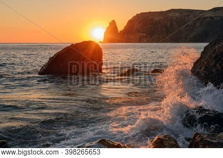 Jasper Beach Of Black Sea With Colorful Stones And Pebbles, Cape Fiolent, Crimea, Russia