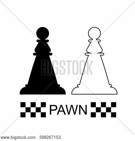 Black And White Pawn Chess Piece On A White Background. Chess Pieces. Chess. Vector Illustration.
