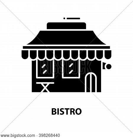 Bistro Icon, Black Vector Sign With Editable Strokes, Concept Illustration
