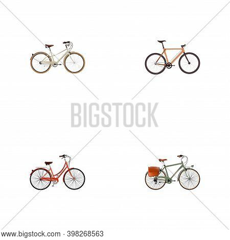 Set Of Bicycle Realistic Symbols With Old, Retro, Postman And Other Icons For Your Web Mobile App Lo