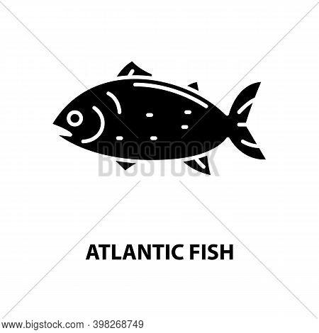Atlantic Fish Icon, Black Vector Sign With Editable Strokes, Concept Illustration