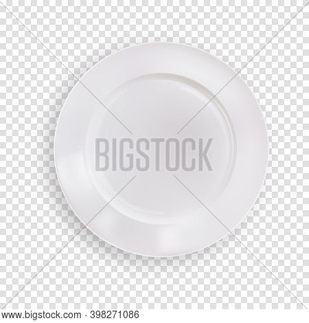 Empty White Plate Isolated On Transparent Background, Kitchen Realistic Clean Food Dish Bowl. Vector
