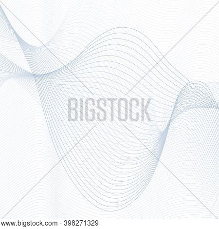 Futuristic Gray-blue Waveforms On A White Background. Twisted Thin Curves. Radio, Sound Waves Concep
