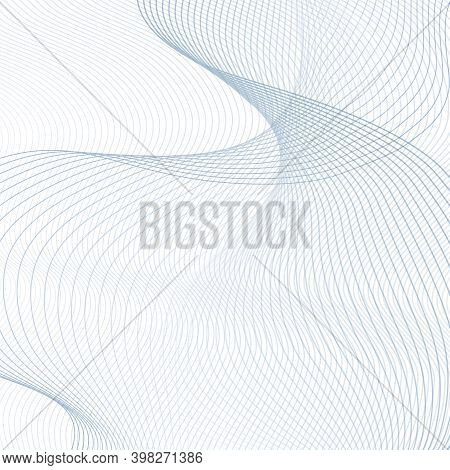 Flying Gray-blue Waveforms On A White Background. Information Field Concept. Twisted Thin Curves. Ra