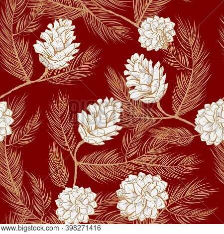 Fir Cones Pattern Background And Pinecone Seamless Vector Design. Pine Tree Branches, Spruces And Co