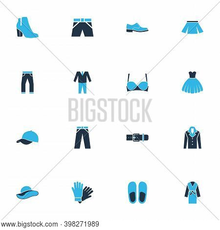 Garment Icons Colored Set With Jeans, Dressing Gown, Belt And Other Latex Elements. Isolated Vector