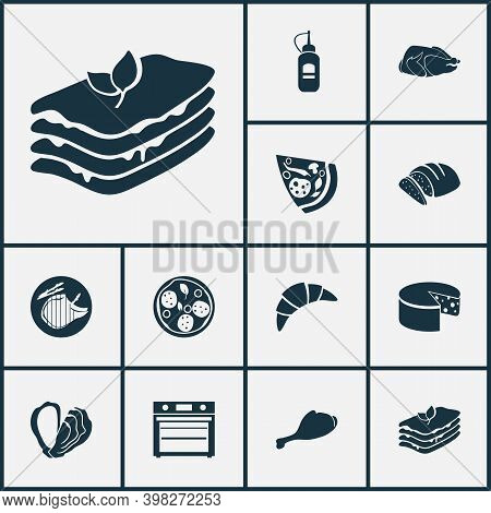 Nutrition Icons Set With Turkey Bird, Lasagna, Pepperoni And Other Cheese Elements. Isolated Vector