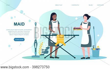 Two Multiracial Maids Ironing Clothes. Female Characters In Uniforms Cleaning House Or Hotel. Concep