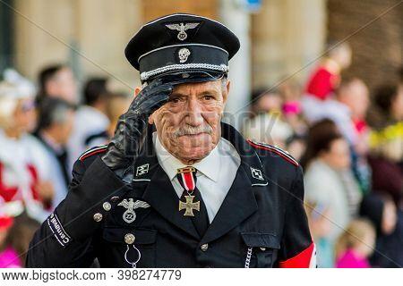 Tenerife, Spain - 09-02-2016: Tenerife Carnival - Man Disguised As An Ss German General