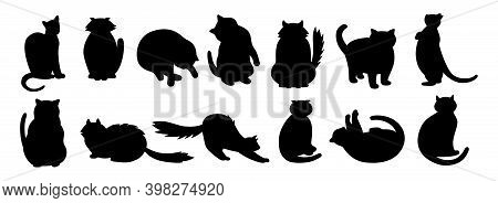 Cat Character Black Flat Cartoon Silhouette Set