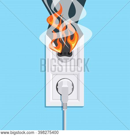 Electric Fire Concept In Flat Style, Vector
