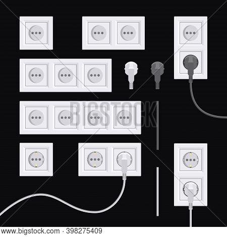 European Electric Sockets Set In Flat Style