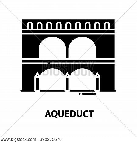Aqueduct Icon, Black Vector Sign With Editable Strokes, Concept Illustration