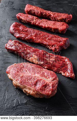 Raw, Alternative Beef Steaks Flap Flank Steak, Machete Steak Or Skirt Cut, Top Blade Or Flat Iron Be