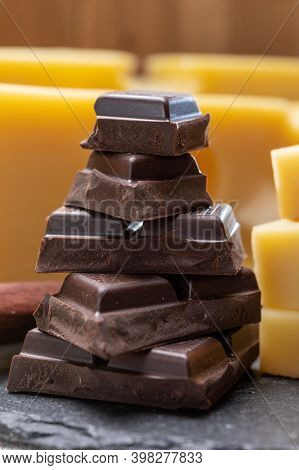Tasty Swiss Food, Block Of Medium-hard Yellow Cheese Emmental Or Emmentaler With Round Holes And Hig