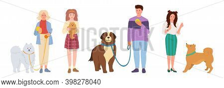 People Walking Dogs Pet Flat Set Girl Guy Vector