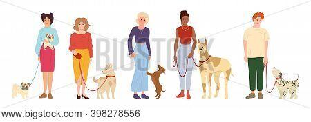 People Walking Dogs Cute Pet Flat Set Vector