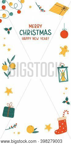Template Design For Christmas Sale With Cute Elements. Holiday Advertising. Xmas Gifts, Holiday Attr