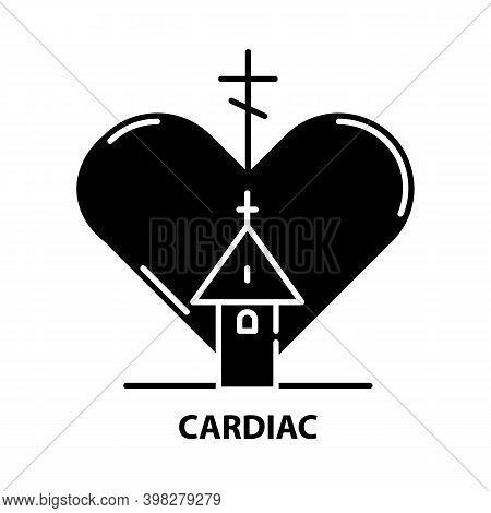 Cardiac Icon, Black Vector Sign With Editable Strokes, Concept Illustration