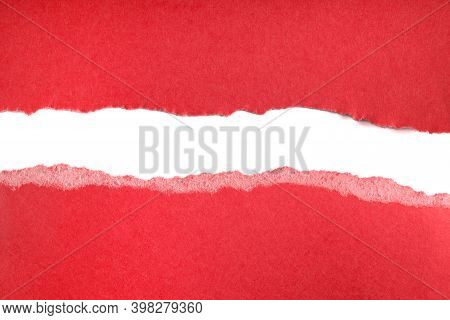 Ripped Pieces Of Red Paper Isolated On White Background. Paper Piece Torn Edge. Rip Sheet Paper Tear