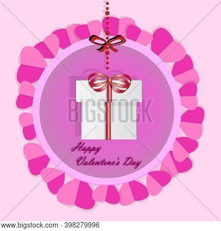 Valentines Day Greeting Card With Gift Box And Red Hearts On Pink Background. Origami Present With H