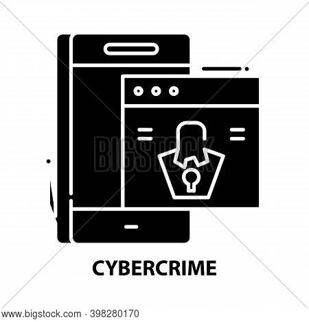 Cybercrime Icon, Black Vector Sign With Editable Strokes, Concept Illustration