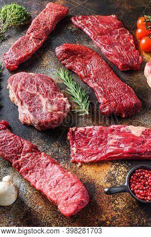 Organic Set Of Raw Alternative Beef Steaks Flap Flank Steak, Machete Steak Or Skirt Cut, Top Blade O