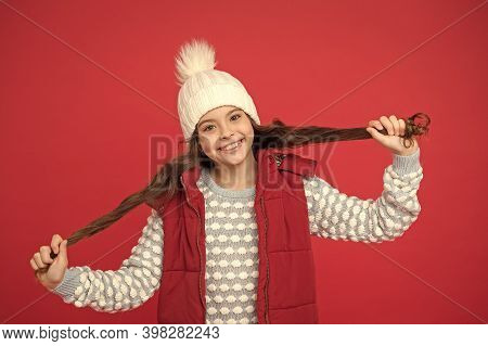 Good Vibes. Cheerful Child In Cosy Knitted Outfit. Winter Fashion. Childhood Happiness. Winter Activ