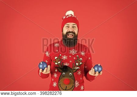 Time For Fun. New Year Is Time For Joy. Add Magic Holidays. Santa Hold Christmas Decoration. Christm